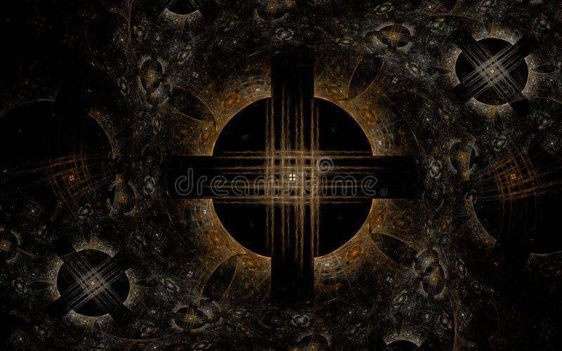 Ein düsterer abstrakter Hintergrund in einer gotischen Art, die aus Kreisen von Kreuzen auf einem schwarzen Hintergrund besteht stock abbildung
