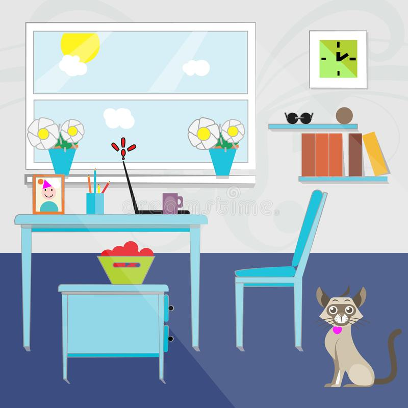 Ein 2D Bild von Wohnungen Haus stock abbildung