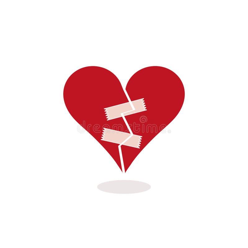 Ein defektes Herz mit Klebstreifen reparieren - Konzept-Illustration vektor abbildung