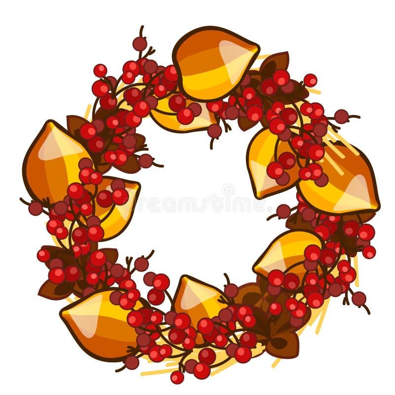 Ein dekorativer Kranz von Trockenfrüchten des Physalis und der roten Beeren der Stechpalme lokalisiert auf weißem Hintergrund Ele stock abbildung