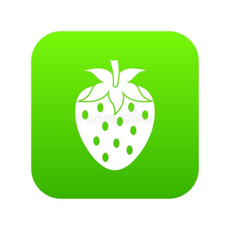Ein digitales Grün der Erdbeerbeeren-Ikone stock abbildung