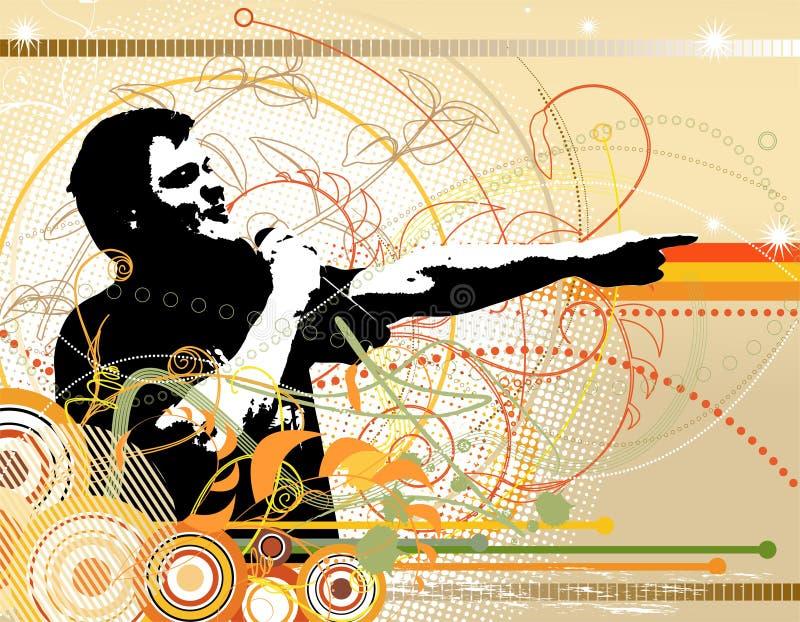 Ein DJ im abstrakten Farbe grunge Hintergrund lizenzfreie abbildung