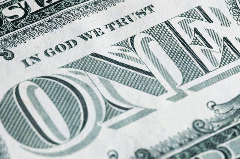Ein Dollar im Makro stockbild