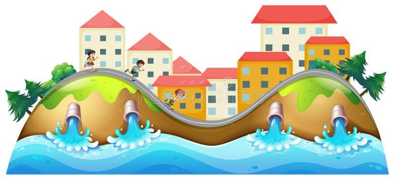 Ein Dorf mit dem Betrieb drei Kinder entlang der Entwässerung stock abbildung