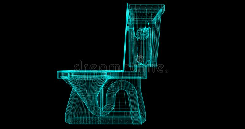 Ein Draht-Rahmen einer Toilette, 3D übertragen mit meinen Selbst Design lizenzfreie abbildung