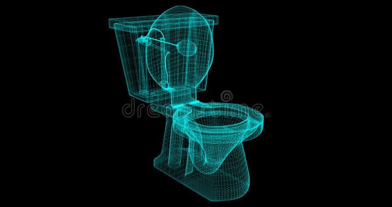 Ein Draht-Rahmen einer Toilette, 3D übertragen mit meinen Selbst Design stock abbildung