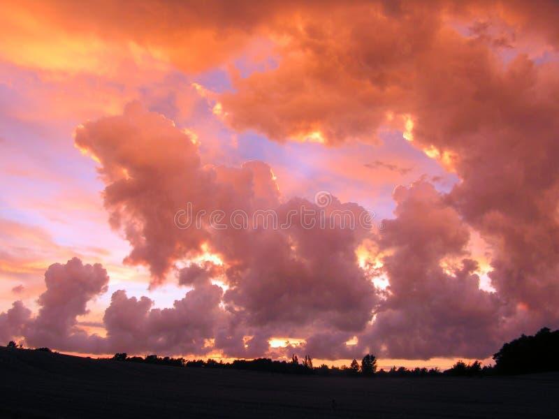Ein drastischer Himmel über einem Feld stockbilder