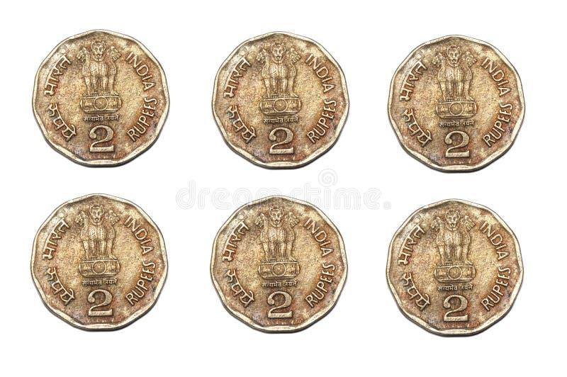 Ein Duplikat von sechs Indien zwei Rupienmünzen stockbild