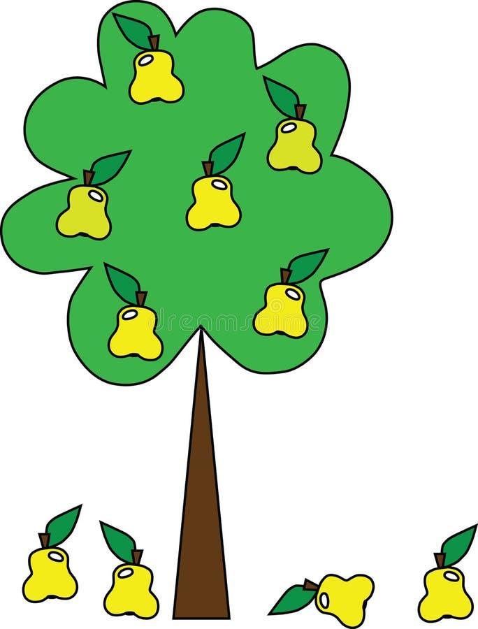 Ein einfacher Baum mit Birnen lizenzfreie abbildung