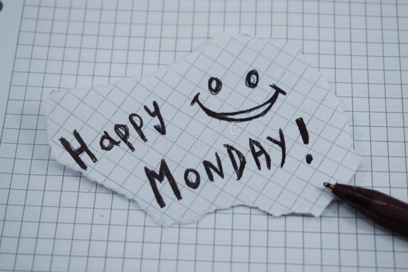 Ein einfacher und verständlicher Titel von einem glücklichen Montag stockfoto