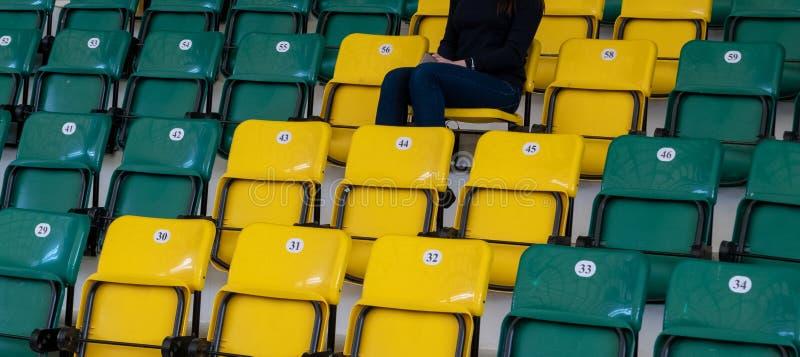 Ein einsames Mädchen sitzt auf einem Plastikstuhl Sitze für Zuschauer im Sportkomplex oder im Stadion Gelbe und grüne Stühle mit stockbild