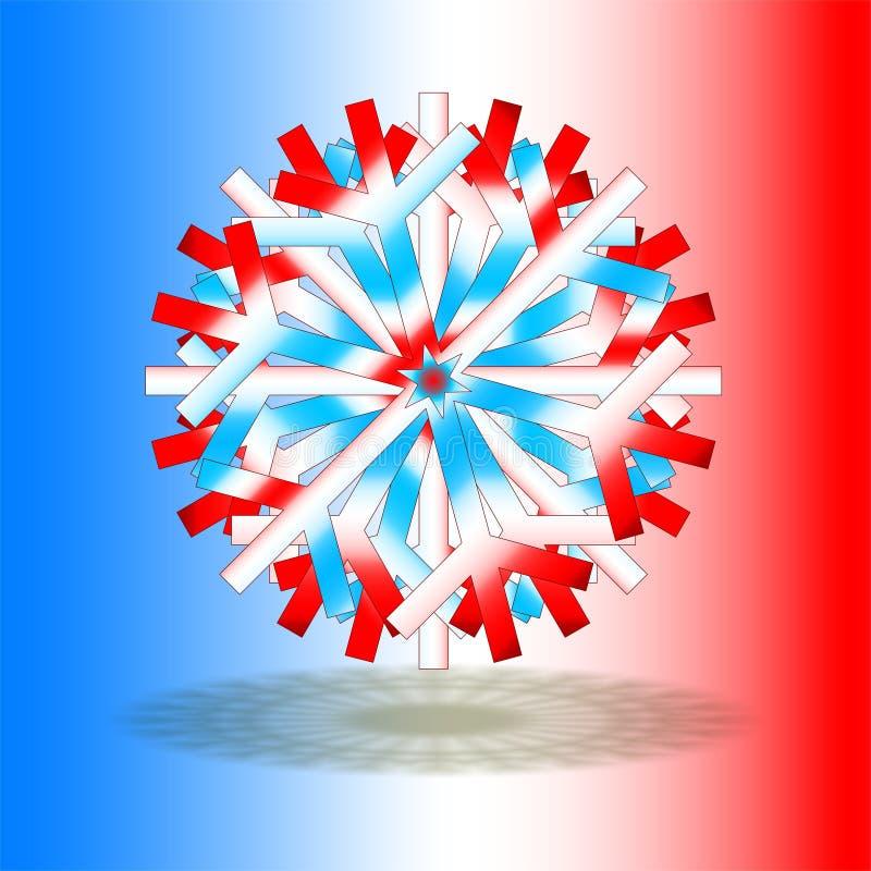 Ein einzelner roter weißer blauer Weihnachtsstern mit einem Schatten auf Unterseite, auf Hintergrund mit Farben angespornt durch  lizenzfreie abbildung