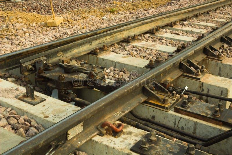 Ein Eisenbahnlinieschalter in Thailand stockbild