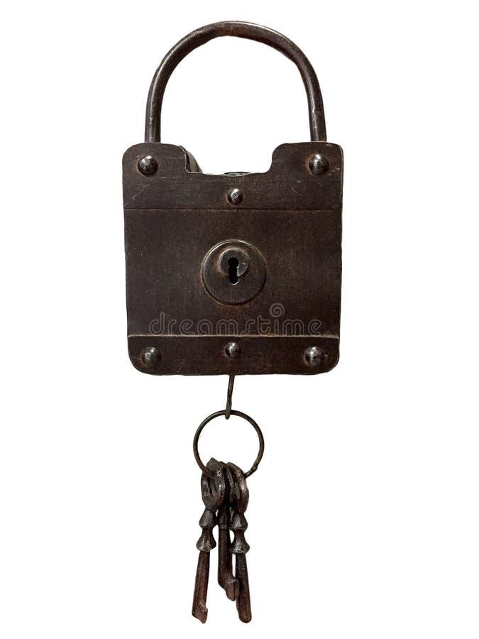 Ein Eisenvorhängeschloß und -schlüssel lizenzfreie stockbilder