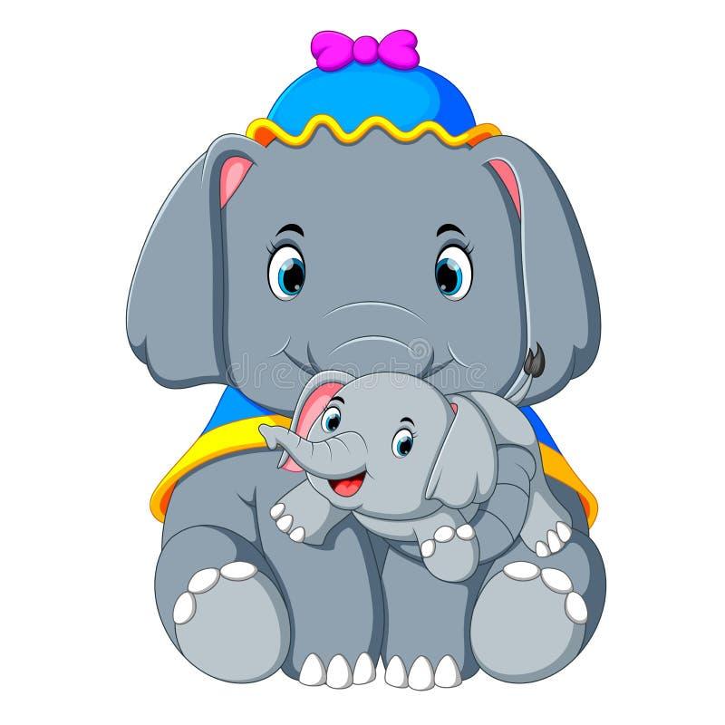 Ein Elefant, der einen blauen Hut und ein glückliches Spielen mit einem netten kleinen Elefanten trägt stock abbildung