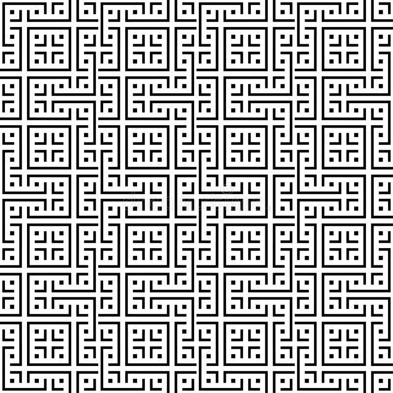 Ein elegantes Schwarzweiss-Vektormuster, geometrische quadratische Fliese vektor abbildung