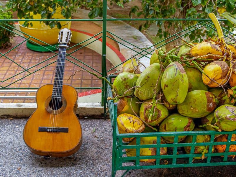 Ein enormer Stapel von großen gelbgrünen Kokosnüssen und von alten abgenutzten Akustikgitarre stockbild