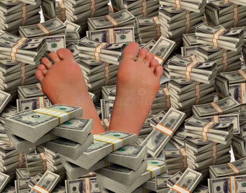 Ein erfolgreicher Mann schwimmt in Geld lizenzfreie stockbilder