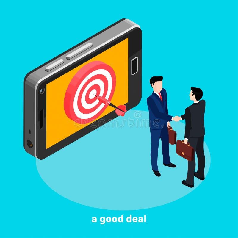 Ein erfolgreiches Abkommen, ein Pfeil in der Mitte des Ziels auf dem Smartphoneschirm, Leute in den Anzügen rütteln sich ` s rich vektor abbildung