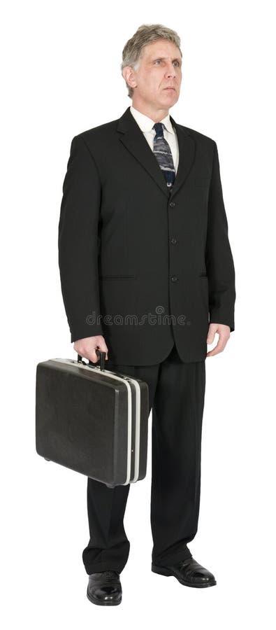 Ernster Geschäftsmann mit dem Aktenkoffer, lokalisiert auf Weiß stockbilder