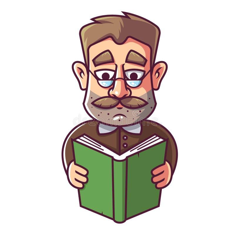 Ein erwachsener Mann mit Gl?sern und einem Schnurrbart liest ein Buch vektor abbildung