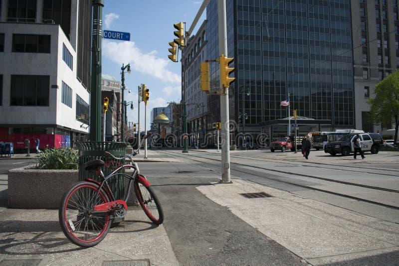 Ein Fahrrad im Büffel, New York lizenzfreie stockfotos