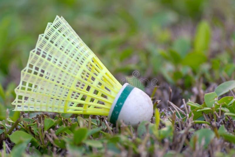 Ein Federball, der im grünen Gras stillsteht stockfotografie
