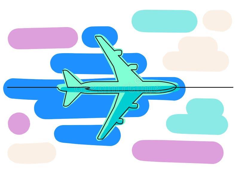 Ein Federzeichnung lokalisierter Vektorgegenstand - Passagierflugzeug vektor abbildung