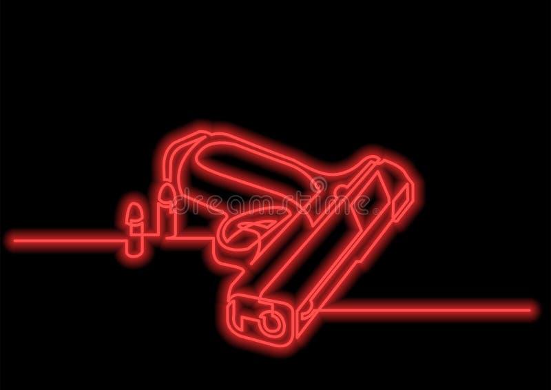 Ein Federzeichnung lokalisierter Vektorgegenstand - Pistole mit Kugeln mit Neonvektoreffekt lizenzfreie abbildung