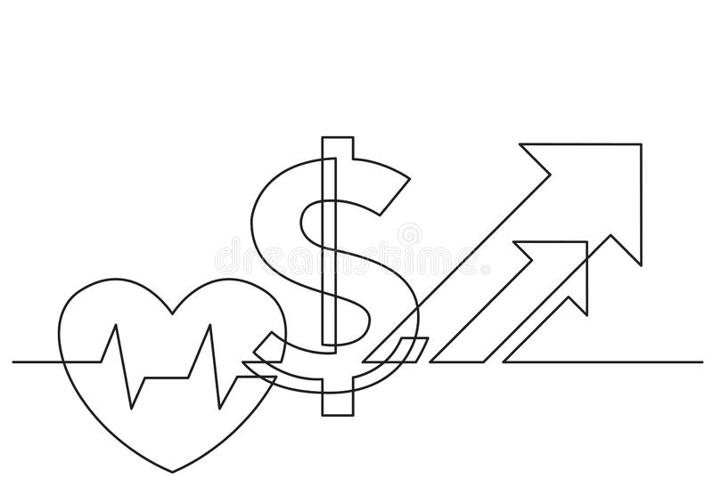 Ein Federzeichnung lokalisierter Vektorgegenstand - wachsende Kosten Gesundheitswesen mit Herzen und Dollar stock abbildung