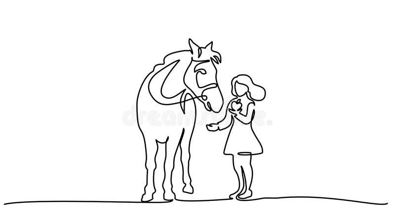 Ein Federzeichnung M?dchen, das ein Pferd speist vektor abbildung
