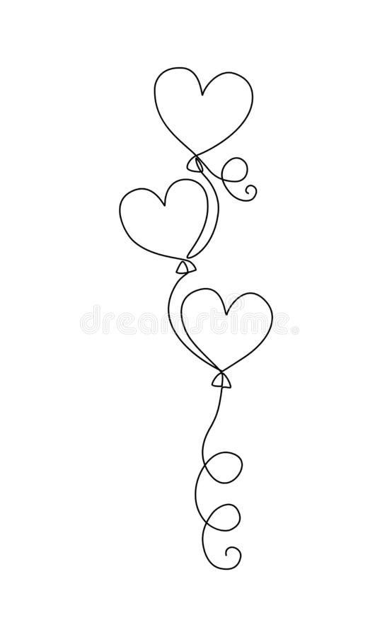 Ein Federzeichnung steigt Skizze im Ballon auf Ballons in Form von Herzen lizenzfreie abbildung