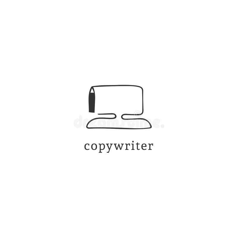 Ein Federzeichnungscomputer, Vektorhandgezogene Logoschablone Schreiben, Copyright und Verlags- Thema stock abbildung