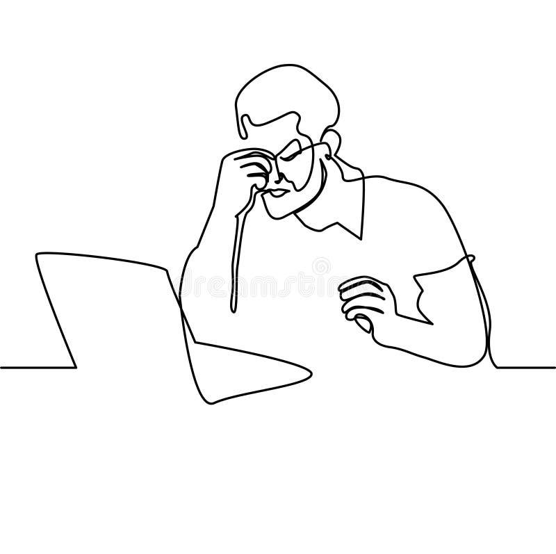 Ein Federzeichnungsmann mit Laptop lizenzfreie abbildung