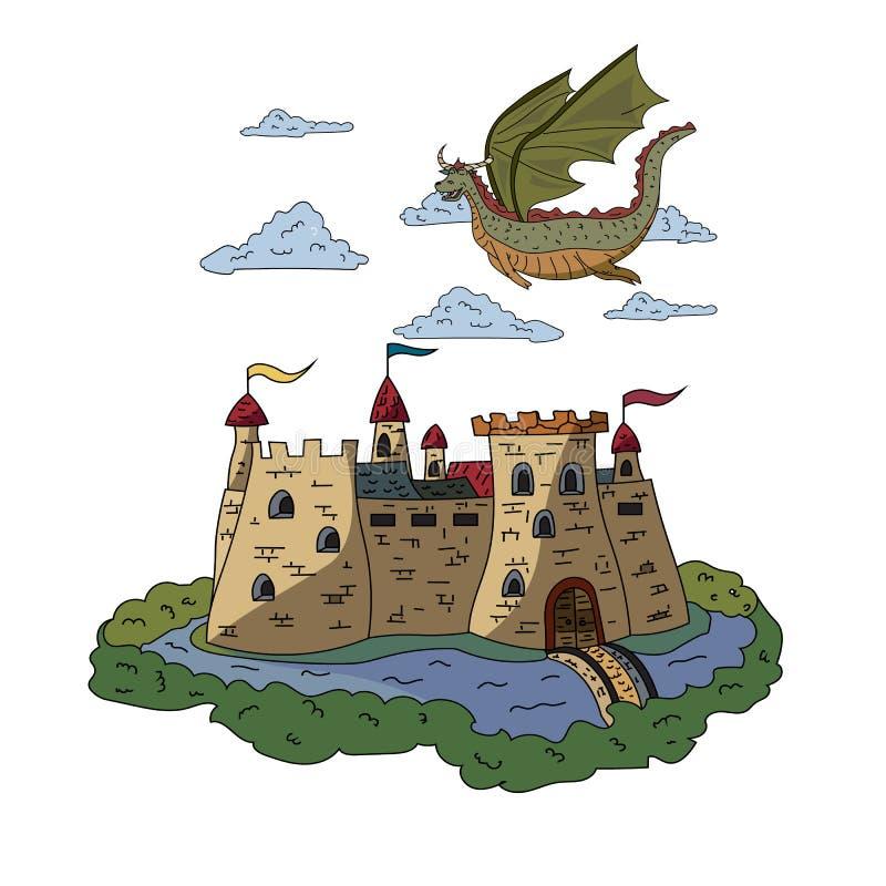 Ein feenhafter Drache, der über ein altes Schloss fliegt Blumenhintergrund mit Gras stock abbildung