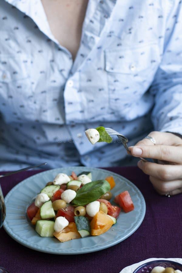 Ein Feinschmecker-Mittagessen: Salat und verschiedene Vorspeisen lizenzfreie stockbilder