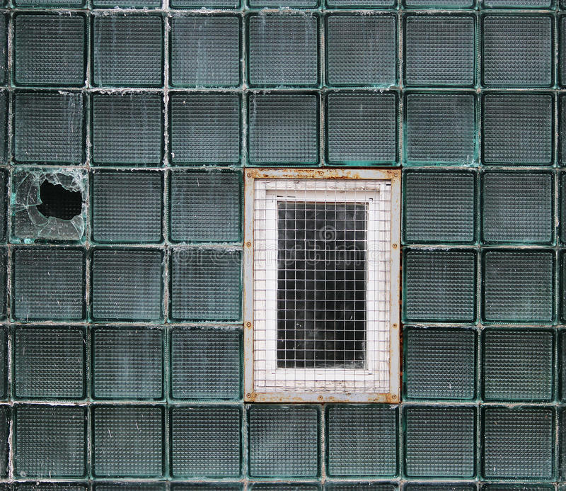 Ein Fenster in einer Glaswand hergestellt von den dickwandigen Reihenzellen stockbilder
