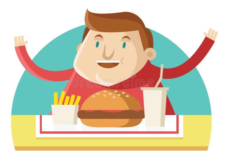 Ein fetter Fleisch fressender Schnellimbiß vektor abbildung