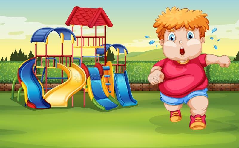 Ein fetter Junge, der am Park läuft lizenzfreie abbildung