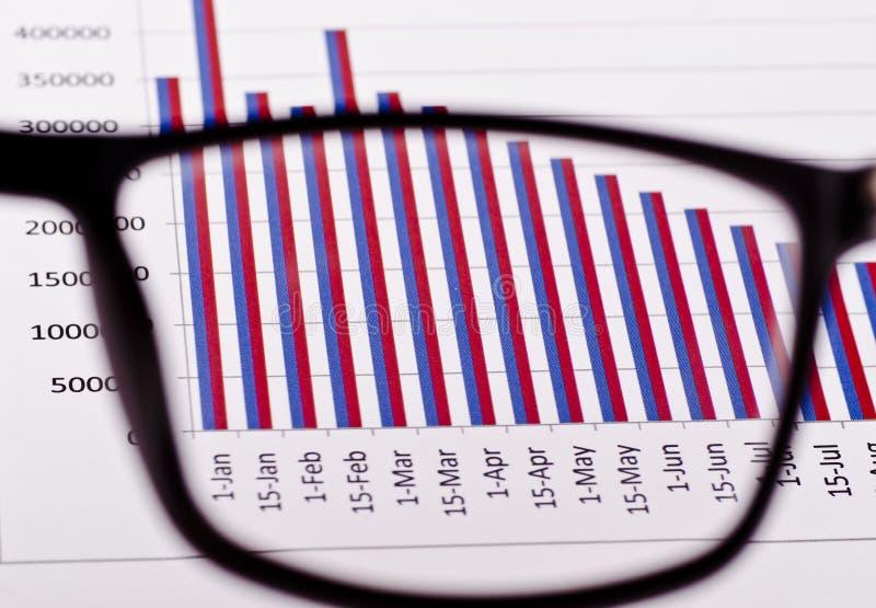 Ein Finanzbericht durch die Gläser lizenzfreies stockbild