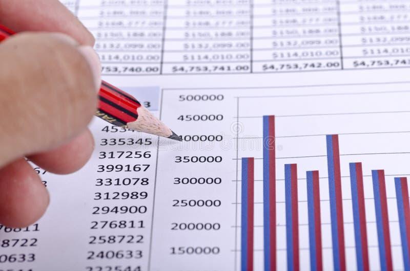 Ein Finanzkreditbericht mit einem Bleistift, der auf Diagramm zeigt lizenzfreie stockfotos
