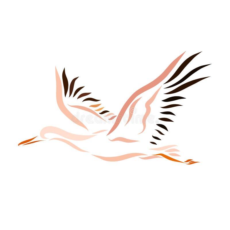 Ein Fliegenvogel, ein Storch stock abbildung