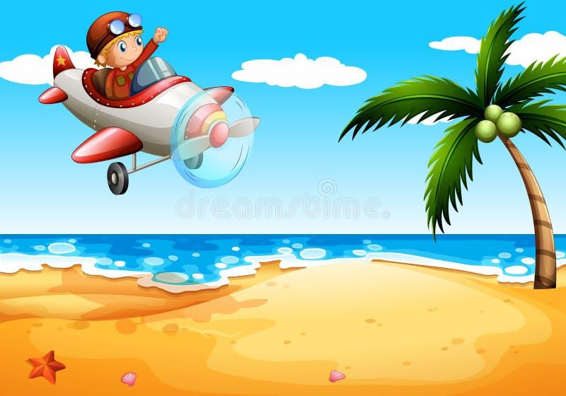 Ein Flugzeug am Strand lizenzfreie abbildung