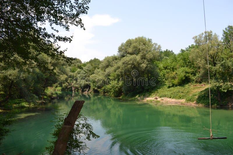 Ein Fluss mit Schwingen für das Springen stockbild