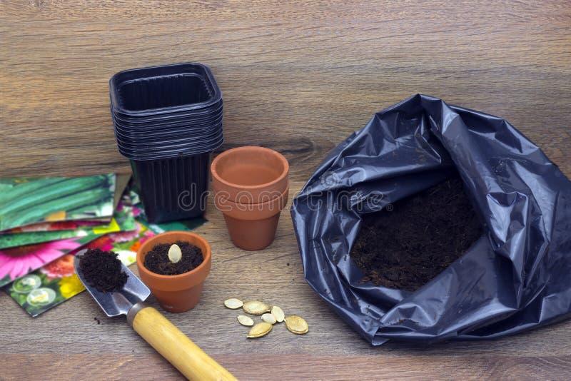 Ein Foto des Pakets des Bodens, der Schaufel-, keramischen und Schwarzenplastikblumentöpfe für Betriebs-, Kürbis-, Kürbis- und Zu lizenzfreie stockfotografie