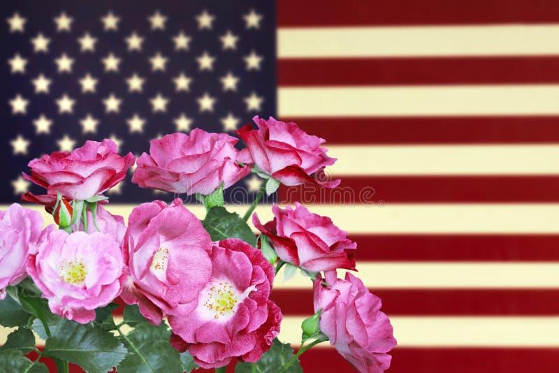 Ein Foto von Rosen auf der USA-Flagge Amerikanische Flagge in der Weinleseart und Blumen für Memorial Day oder das 4. von Juli lizenzfreie stockbilder