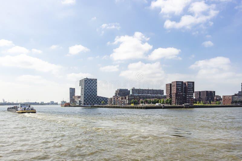 Ein Frachtboot auf dem Fluss Maas führt das Gebäude der Niederlande-Seeuniversität stockbild
