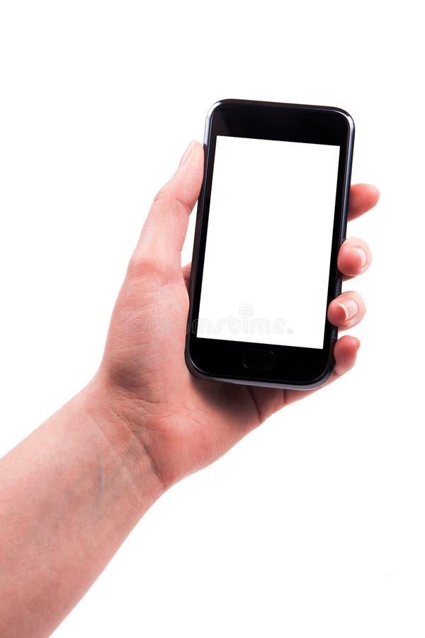 Ein Frauenhandtelefon bis jetzt. stockfoto