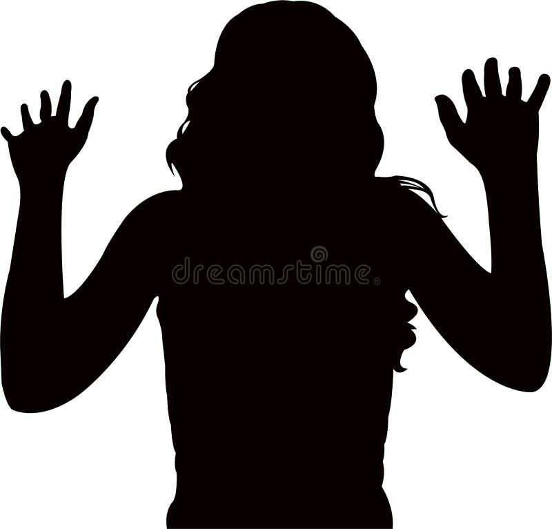Ein Frauenkopf und Arme, Körperteil, Schattenbildvektor lizenzfreie abbildung
