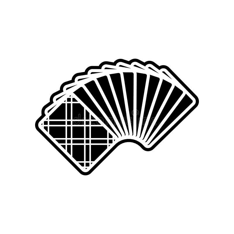ein freigelegter Kartenstapel von der hinteren Ikone Element des Kasinos f?r bewegliches Konzept und Netz Appsikone Glyph, flache stock abbildung